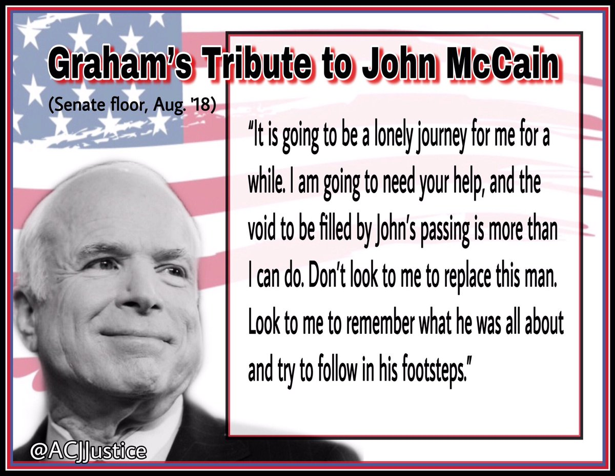 @LindseyGrahamSC I recently was thinking of your impassioned tribute to McCain on the Senate floor on Aug. 28, 2018. In that moment I think you had every intention of being a patriot. Your tweet is a a good 1st step. If you truly honor your frend John, I implore you to get back on track.