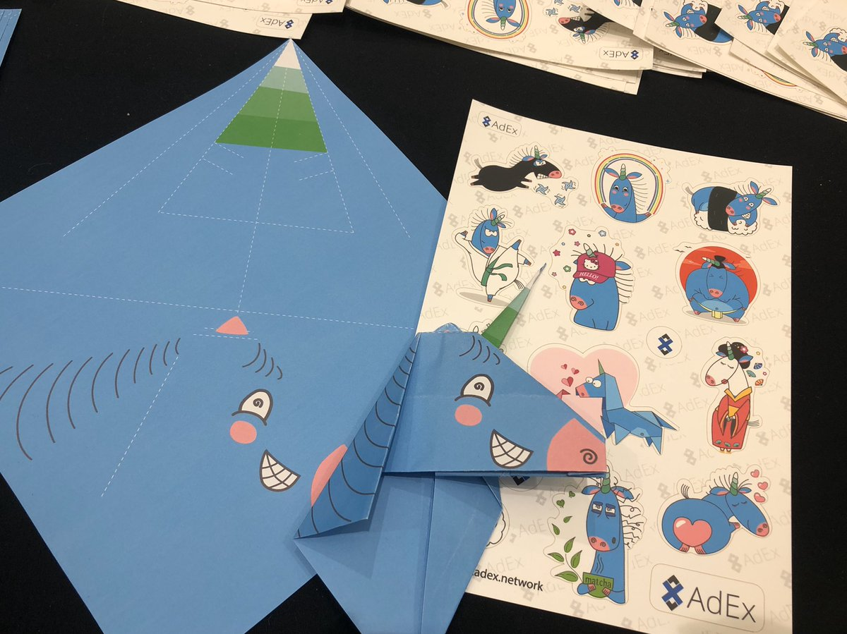 We have stickers and origami unicorns. Swing by our booth at #Devcon5!