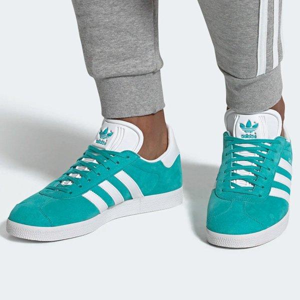 hi-res aqua/white adidas Gazelle