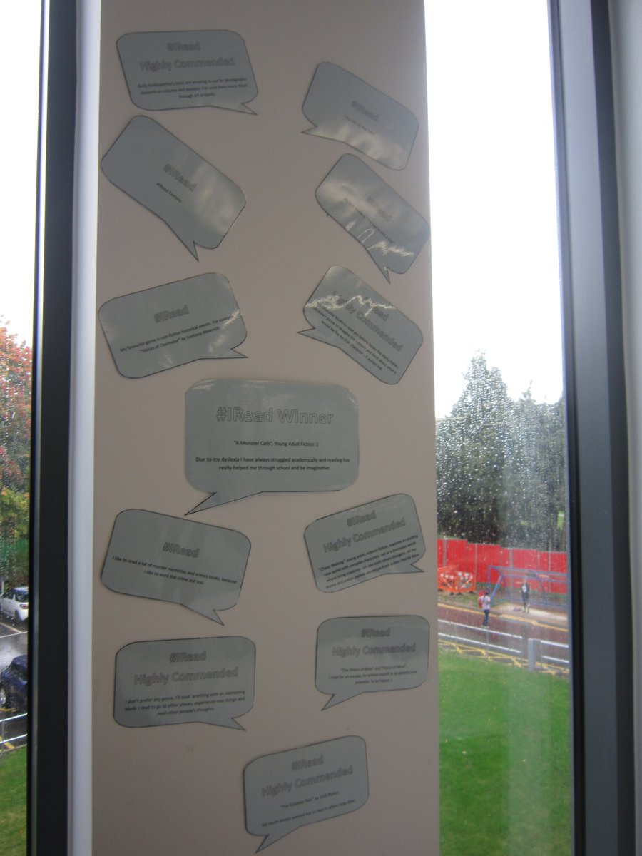 #IRead results are in! Check out all the entries, they have been added to the @AshfordLRC walls and they look great! Thank you to everyone who entered! Congratulations to our winner! #FreshersFair #AshfordCollege