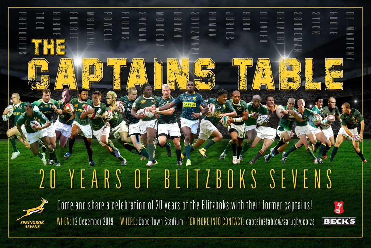 A special evening planned for all those who love the #Blitzboks and sevens rugby. Make sure to get your bookings in, limited spaces available for this first EVER event of this nature! 💻captainstable@sarugby.co.za