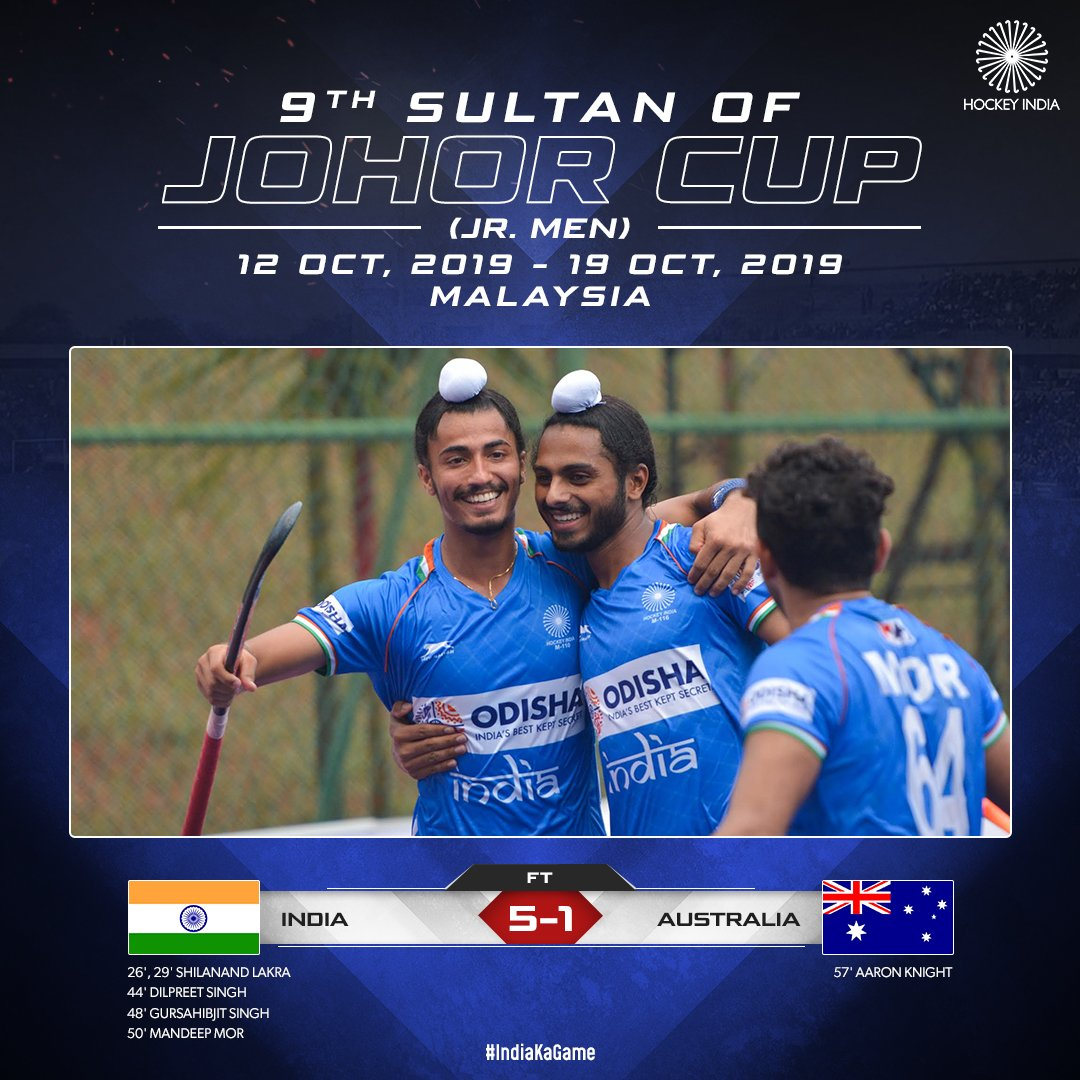 FT:  5-1   If you watched the match with us, you would agree this was India's best set-up so far. Played as one unit right from the first whistle till the final hooter!   Take a bow #TeamIndia, it was a performance to be proud of!   #IndiaKaGame #SOJC #INDvAUS<br>http://pic.twitter.com/YMCM7zmkwq