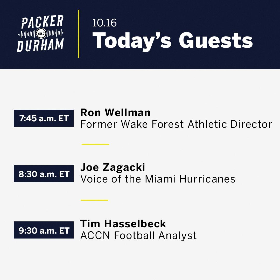 Coming up 🔛 #PackerAndDurham ⏺ @RonWellman ⏺ @canesvoice ⏺ @tthasselbeck