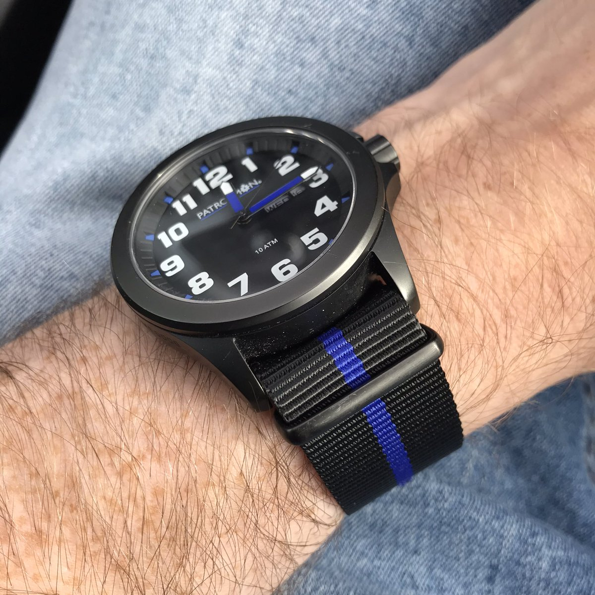 Probably the best timepiece I've ever owned and engraved with my collar number! #patrolmanwatches #offduty #natostrap #thinblueline