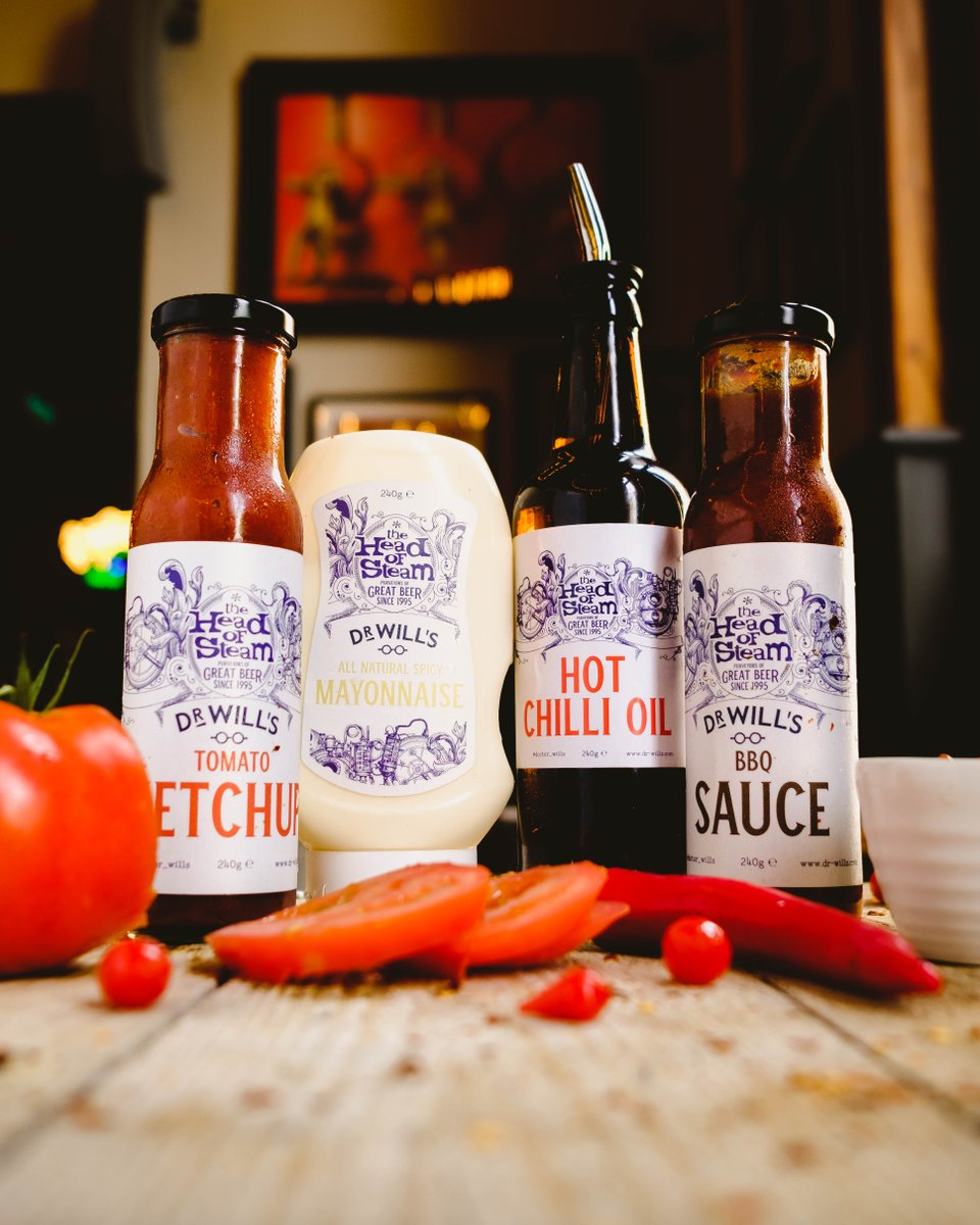 Our new range of vegan Dr Will's sauces are a great accompaniment for your meal. Our new Hot Chilli Oil is also new a popular one for those who like some spice! #headofsteamhuddersfield #cameronsbrewery #vegan #veganfood #station #pub #huddersfield #stationfood #beer https://t.co/QODtp0uOvo