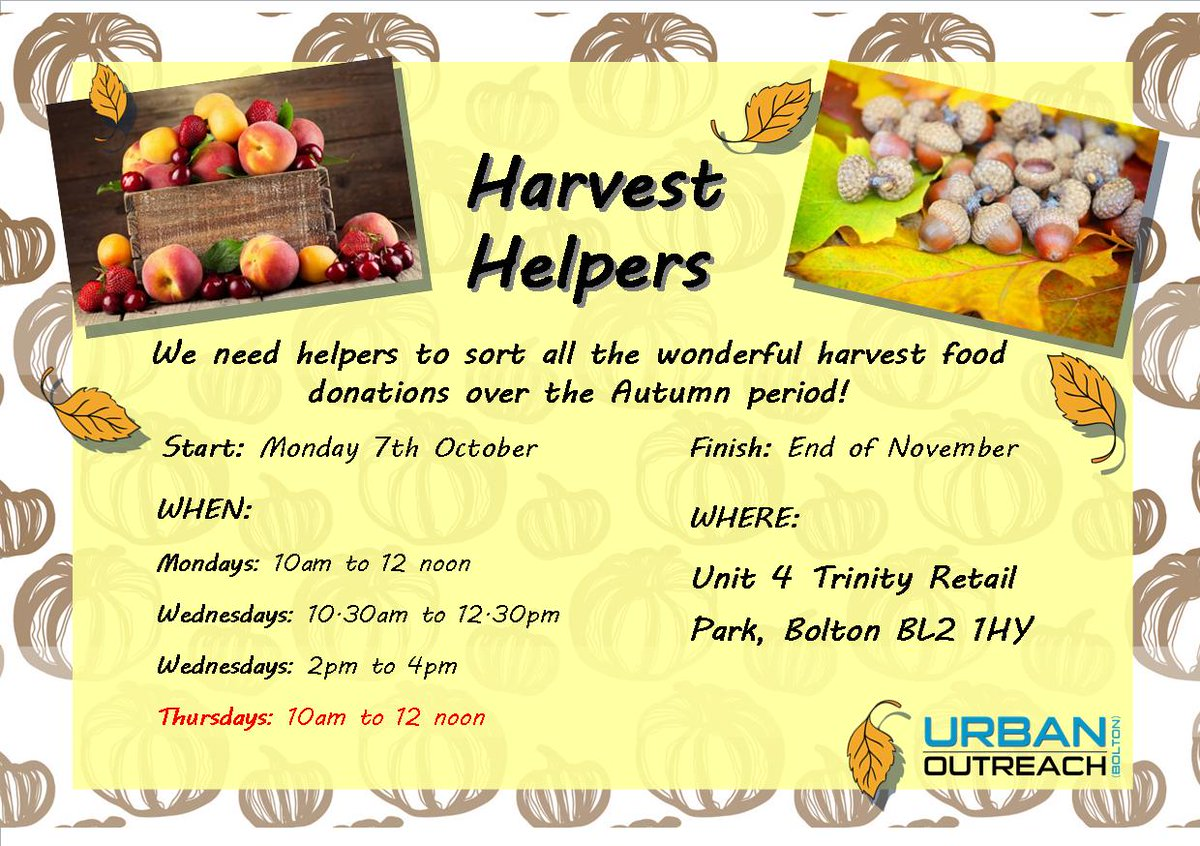 Just an update on our Harvest Food Sorting.... Friday food sorting is now taking place on Thursdays - see our updated notice. A big thank you to all who have helped out so far, and those that intend to come down and lend a hand!