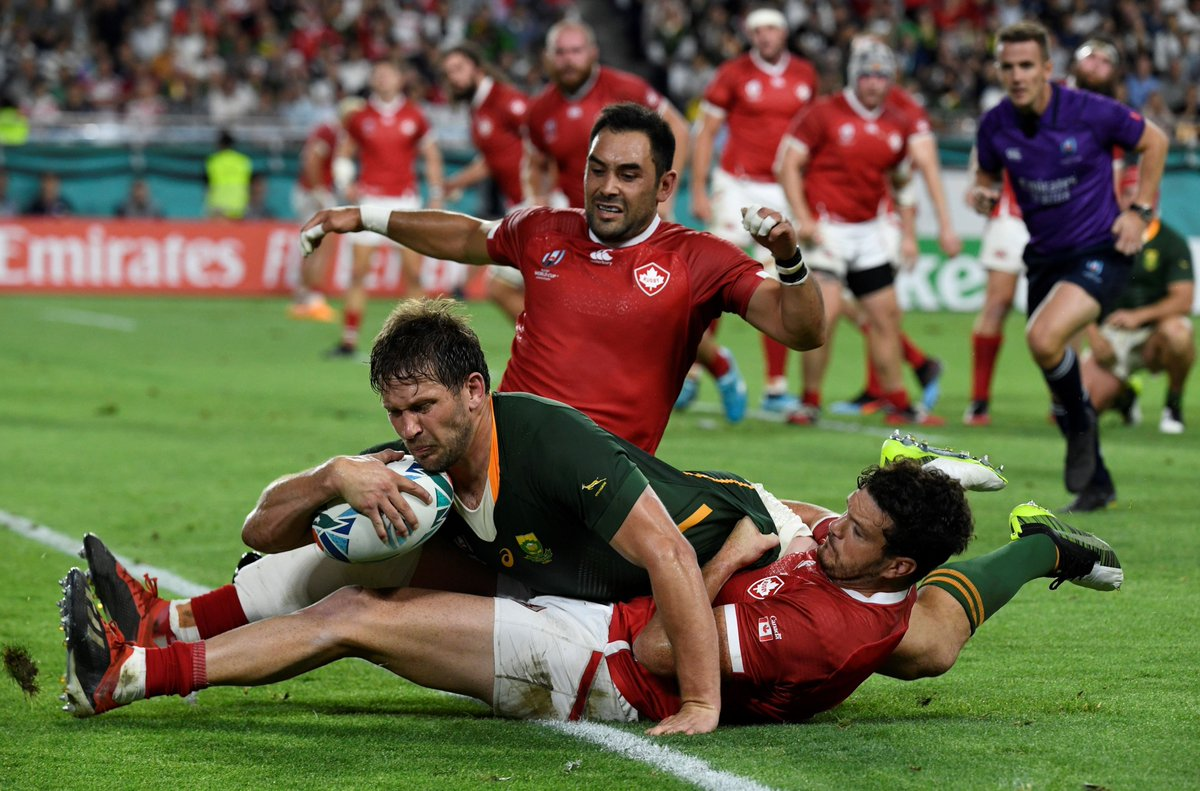 RWC 2019 Japan: 🇿🇦 LATEST @Springboks beat Canada 66-7 to qualify for QFs but @AllBlacks v Italy on Saturday will decide if they finish one of two in Pool B. Likely opponents Japan, Ireland or Scotland?