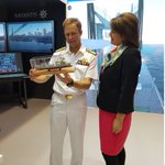 VADM Michael Noonan AO, receives a scale model of the new Supply class AORs by @NavantiaOficial Chairwoman Susana de Sarria at @Pacific2019Expo.