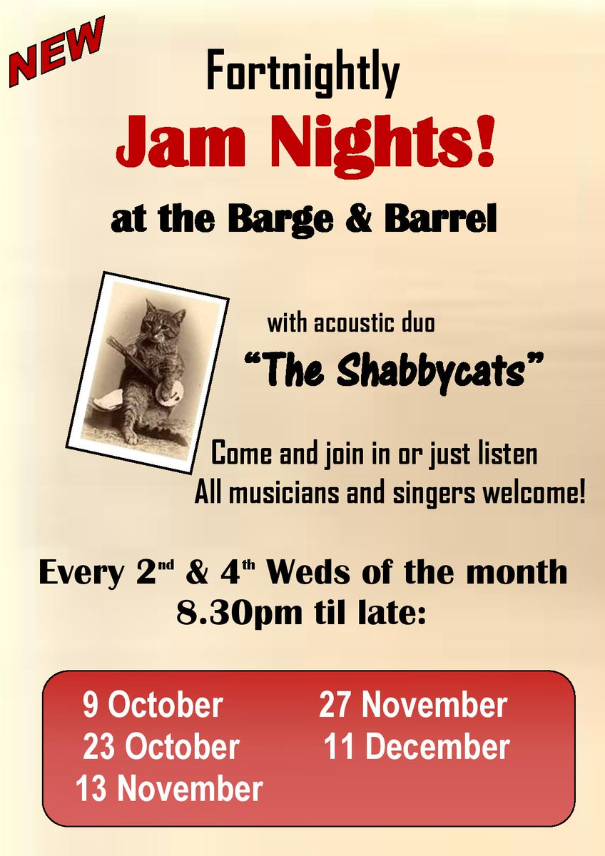 Tonight!! #TheShabbycats are hosting another #jamnight at the all new @bargeandbarrel in #Elland tonight, 8.30pm til late. Bring an instrument, shake an egg or just listen! All welcome <br>http://pic.twitter.com/IE9gfxtPYZ