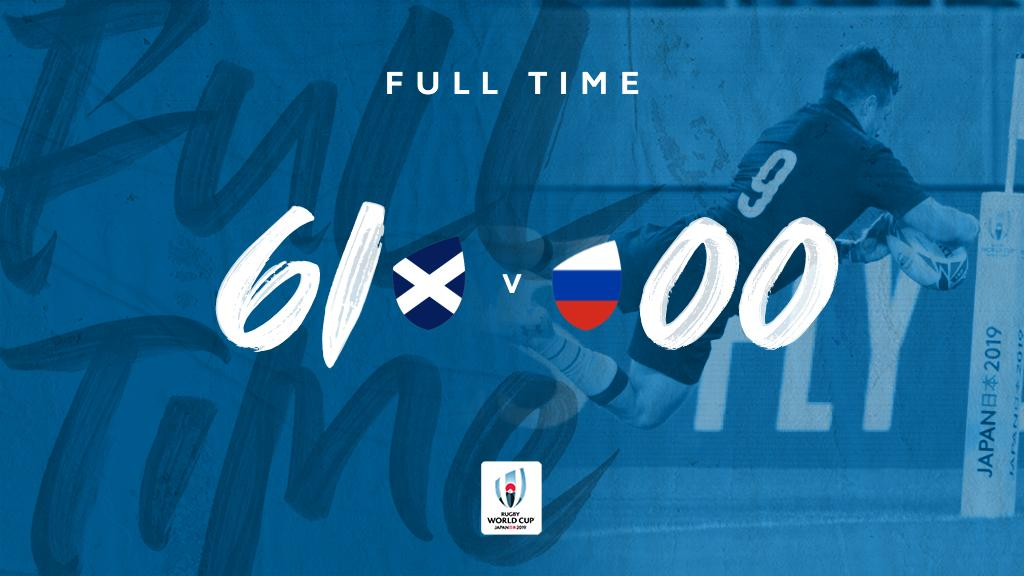 @Scotlandteam @russiarugby FULL TIME at #RWCShizuoka A dominant win for @Scotlandteam with the crucial bonus point secured #RWC2019 #SCOvRUS