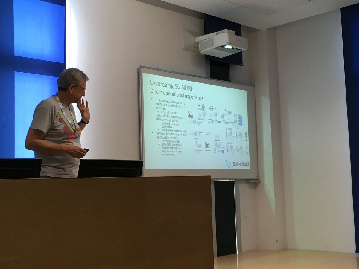 During the 5G PPP TB workshop in Málaga, Diego Lopez, 5G-VINNI TM, is explaining how 5GINFIRE results are leveraged by 5G-VINNI. #5G #5Gtrials #ict #H2020 @5GPPP @5gVinni https://t.co/t48GPQZCiO