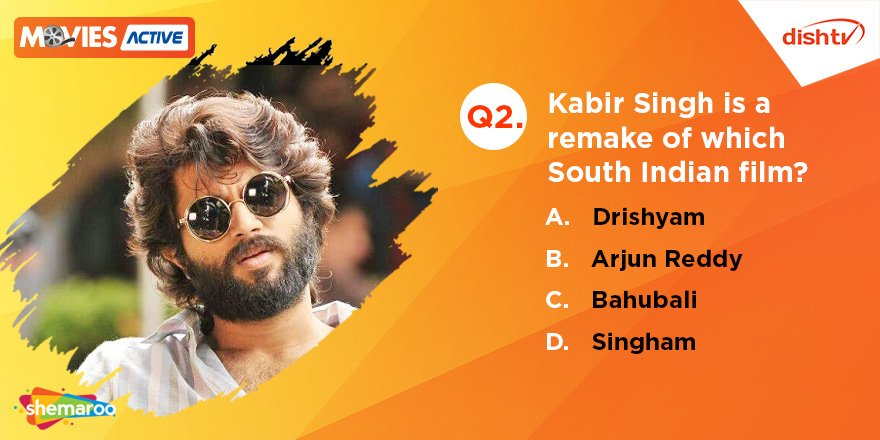 Q2. Kabir Singh is a remake of which South Indian film? Guess the answer, reply with the hashtag #KabirSinghWithDishTV and bring home amazing prizes!  #KabirSingh #Contest #ContestAlert #ContestIndia <br>http://pic.twitter.com/UePP4LiF3O