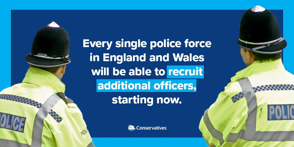 📢 Today were announcing the first wave of 20,000 new police officers to make your streets safer. 👮♂️ By the end of next year, 6,000 more officers will have been recruited to local forces.