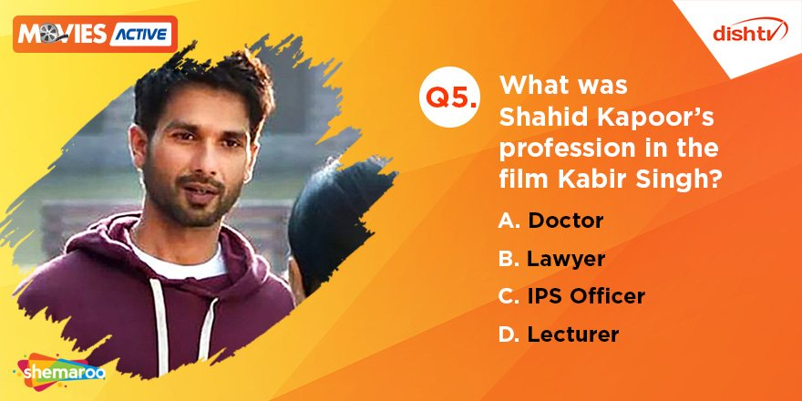 Q5. In the film, #KabirSingh plays the role of a _____? Don't forget to use the hashtag #KabirSinghWithDishTV as you do so, and catch the movie on DishTV #MoviesActive service.  #KabirSingh #Contest #ContestAlert #ContestIndia <br>http://pic.twitter.com/WGpLJnoYmi