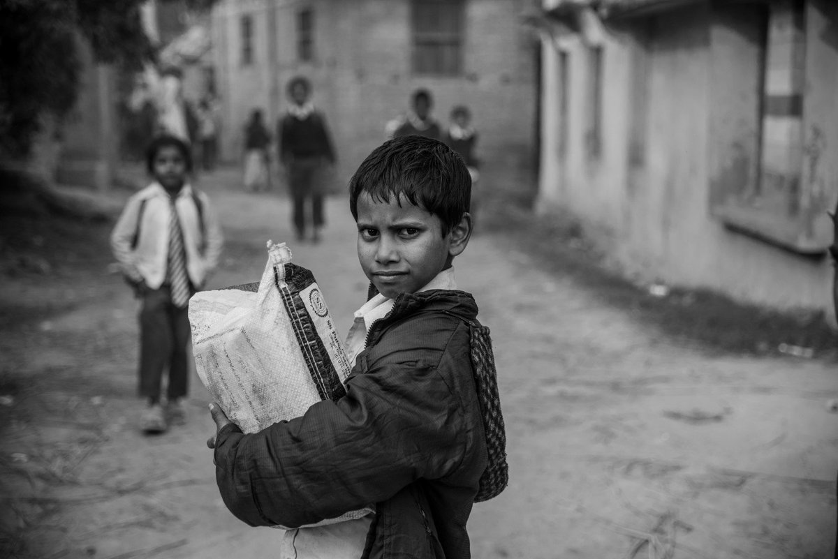 A student returning from a local school in Khairba village. #Nepal #Madhes Photo @digitalsubway