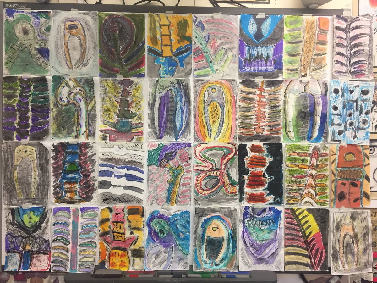 Mrs Charlett's @sfx1842 Year 9 wax resist bone studies inspired by Henry Moore's WW2 drawings set in the London Underground. Fantastic mixed media work from 9B1 for the 'Shelter' theme for this year 😀 #ks3art #henrymoore #waxresist #ww2art #texture #sfx