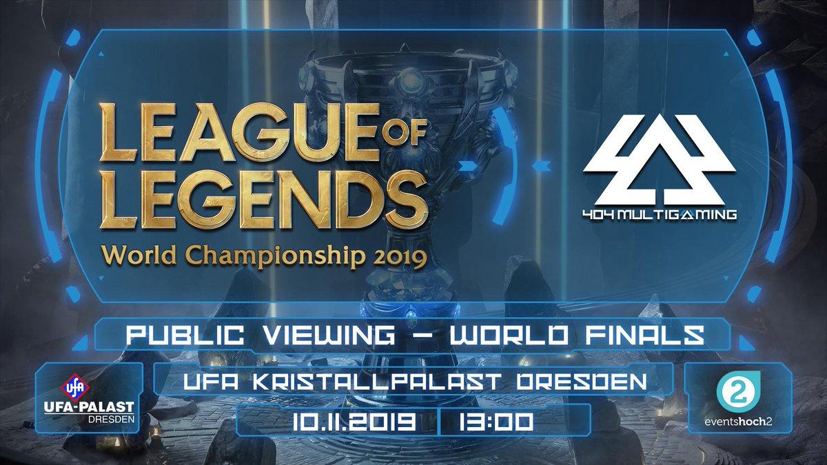 Wir freuen uns riesig euch mitteilen zu können das es ein Public Viewing zum Finale der #Worlds2019 in #Dresden geben wird! Gemeinsam werden wir am 10.11. im #UFAKristallpalast die Spiele live verfolgen.  Mehr Infos: https://www.facebook.com/events/829070210809384/…  Wir freuen uns auf euch!#404MG #LoLpic.twitter.com/MMm656IvYf