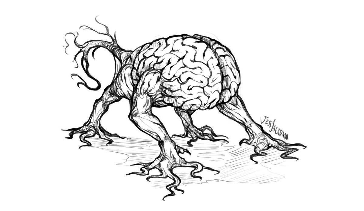 I is for Intellect Devourer It was always weird to me that these brain-dogs always had thick paws jutting out of their infected brains. So I threw in some dendrite feet and a wagging brain-stem tail instead. #inktober #Inktoberday9 #DnD