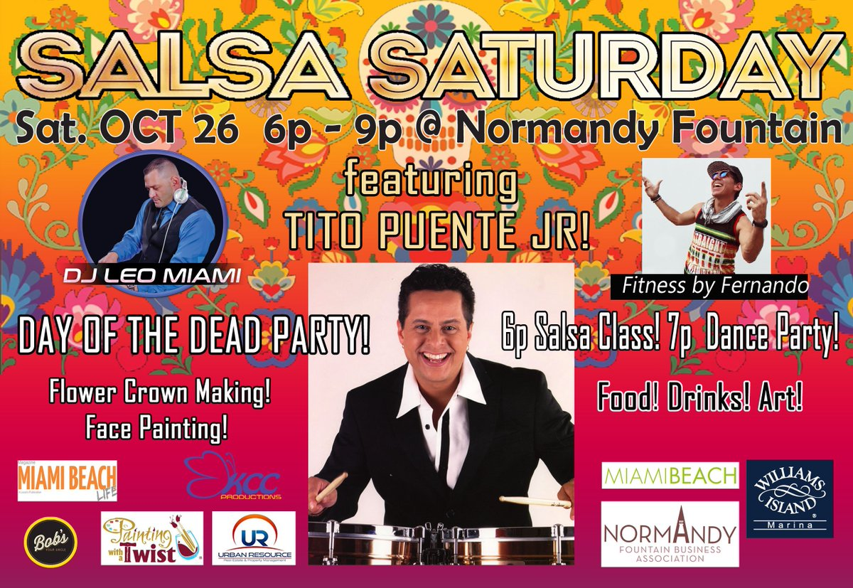 Join our community for a #SalsaSaturday FREE event at the Normandy Fountain! Sat Oct 26 6-9PM  #miamibeachlocals #whatlocalsdo #wherelocalsgo #loveourcity #miamibeach #familyfriendly #bringyourdogstoopic.twitter.com/D2A0igRVw3