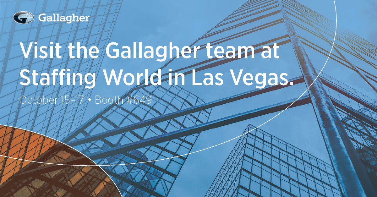 Heading to #StaffingWorld in Las Vegas next week? Be sure to stop by booth 649 to meet the Gallagher team!