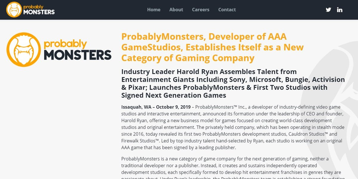 A new breed of #videogame company – a #developer of AAA #game #studios. Proud to announce the reveal of #ProbablyMonsters and 1st 2 studios under CEO Harold Ryan.