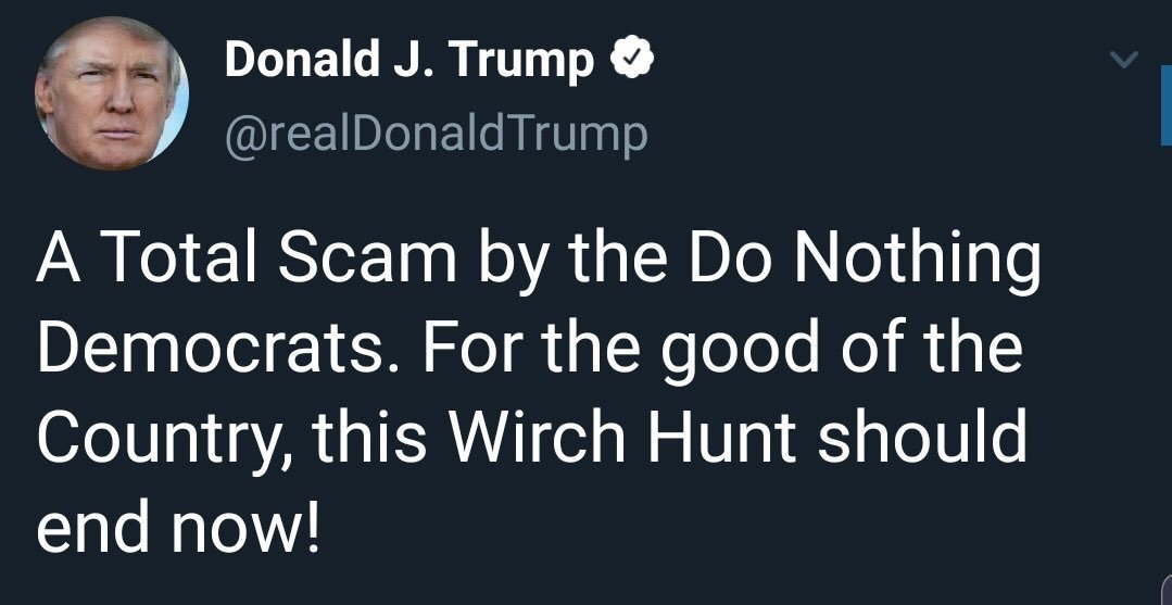 """The Wicked Wirch of the West, in his """"great and unmatched wisdom,"""" tweeting about a #WirchHunt is just something with wirch I've come to expect to start my morning"""
