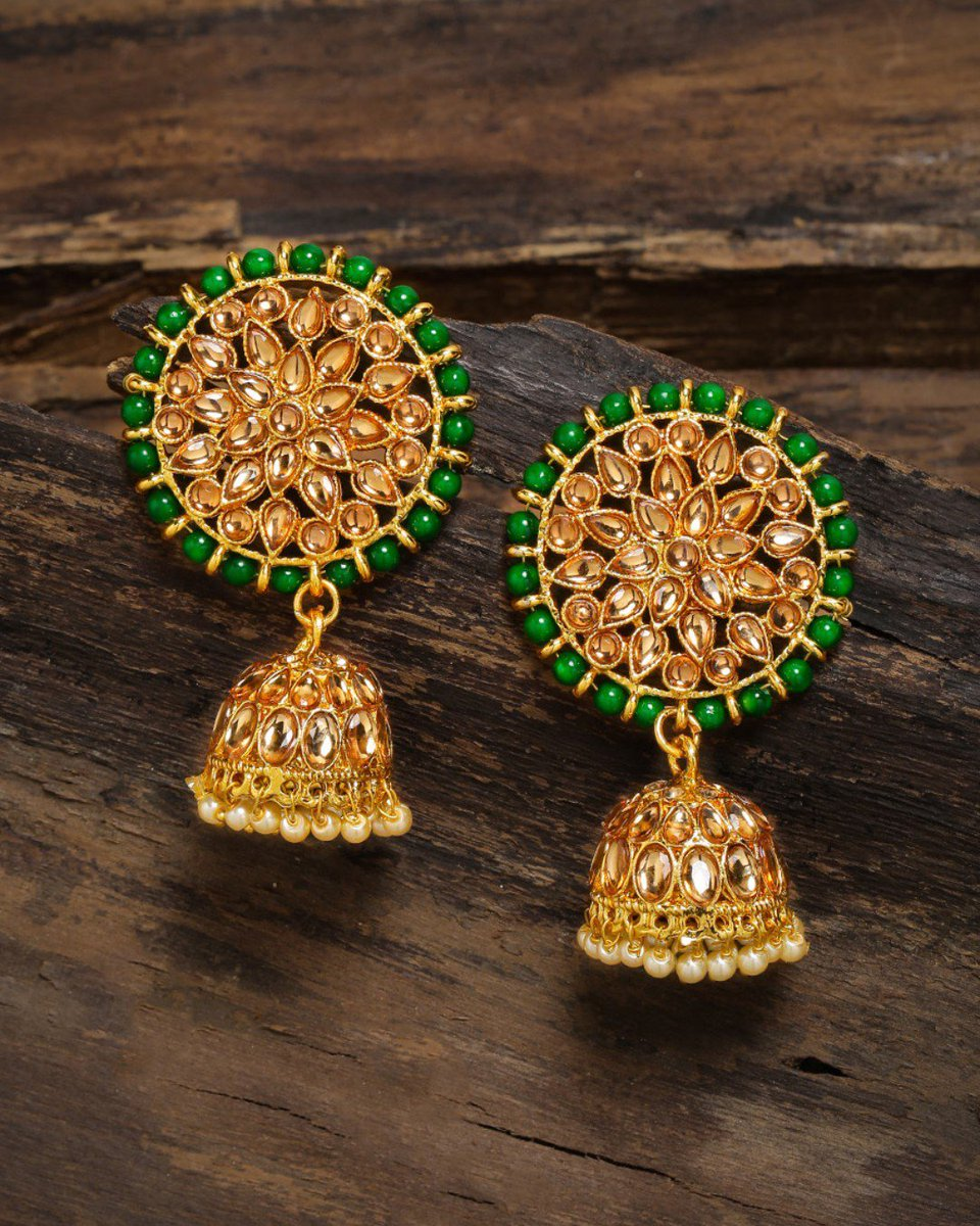 Gold toned green colored dome shaped jhumkas with beads!  Shop now @LimeNestOnline   DM for details! #jewellery #oxidisedearrings #oxidisedjewellery #oxidisedearring #jhumkas #hoopstyle #baalistyle #bigjhumka #jhumkaisthetrend #fashionaccessories #earringswag #limenestpic.twitter.com/sq5epBWxFO