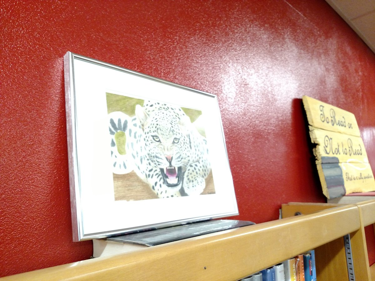 Newly donated student artwork up for display in the THS library!! #bluedevilpride <br>http://pic.twitter.com/1G6Fx6paOO