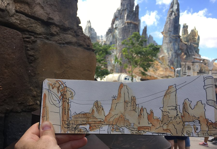 """We're continuing our """"Sketches from the Park"""" series with a visit to Star Wars: #GalaxysEdge  at Disney's Hollywood Studios!  https:// bit.ly/2p0HhdT    <br>http://pic.twitter.com/ASZpFLe1pz"""