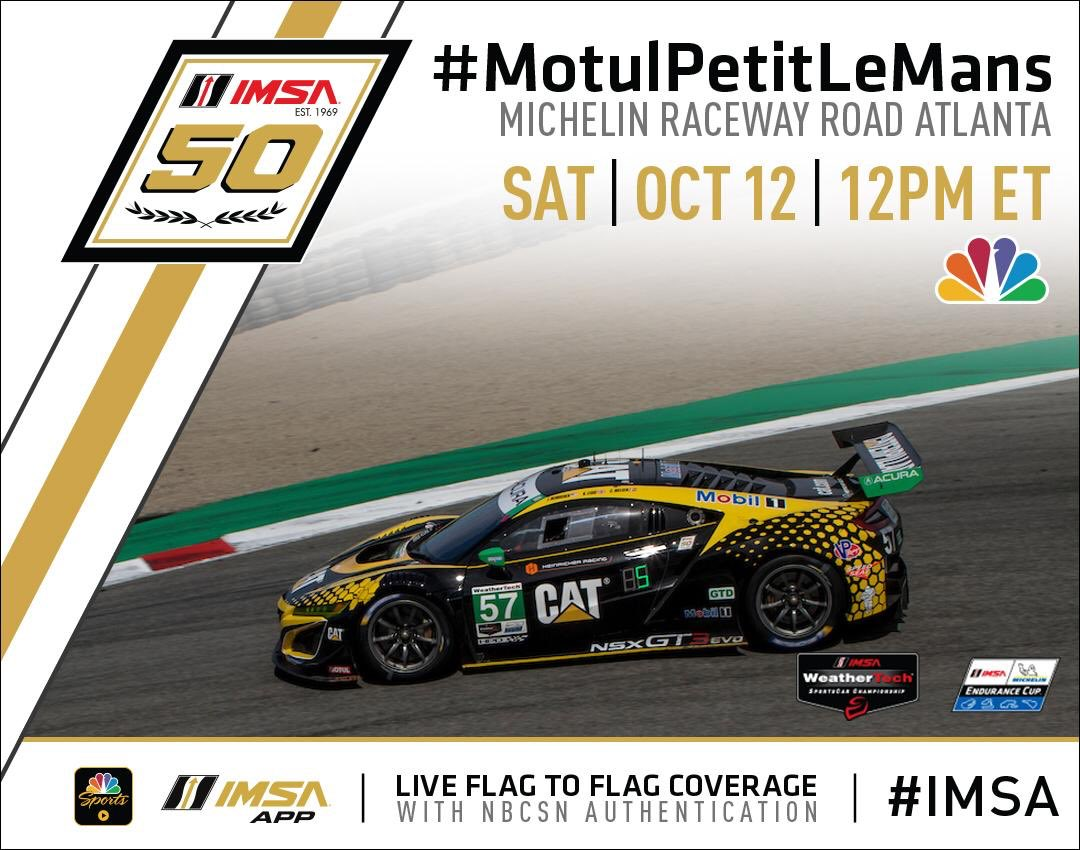 Watch us race the season finale this weekend. From NBC to the NBCSN app to the finish on NBCSN, you can catch it all live. Right foot down. Forward! @caterpillarinc @exxonmobil @mobil1 @Acura @HondaRacing_HPD @katherinelegge @christinaracing @FCBiaracing @IMSA @RollinGreens1