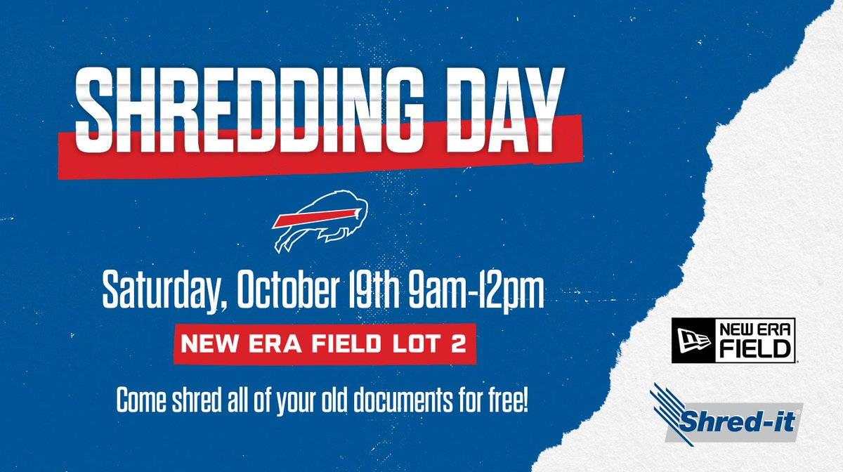 Save the date. 📆 Were holding a shredding day with @Shredit on October 19th and youre invited! #GoBills