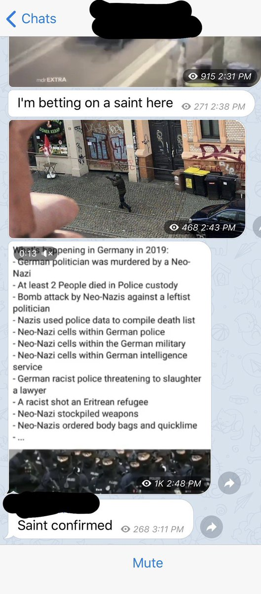 """When part of your job is to follow various radical right channels, you get a front row seat to them gloating about tragedies like Halle. In this channel the shooter is already being referred to as a """"saint"""" — a moniker used to refer to the Christchurch shooter and the US shooters <br>http://pic.twitter.com/Woag0dkefa"""