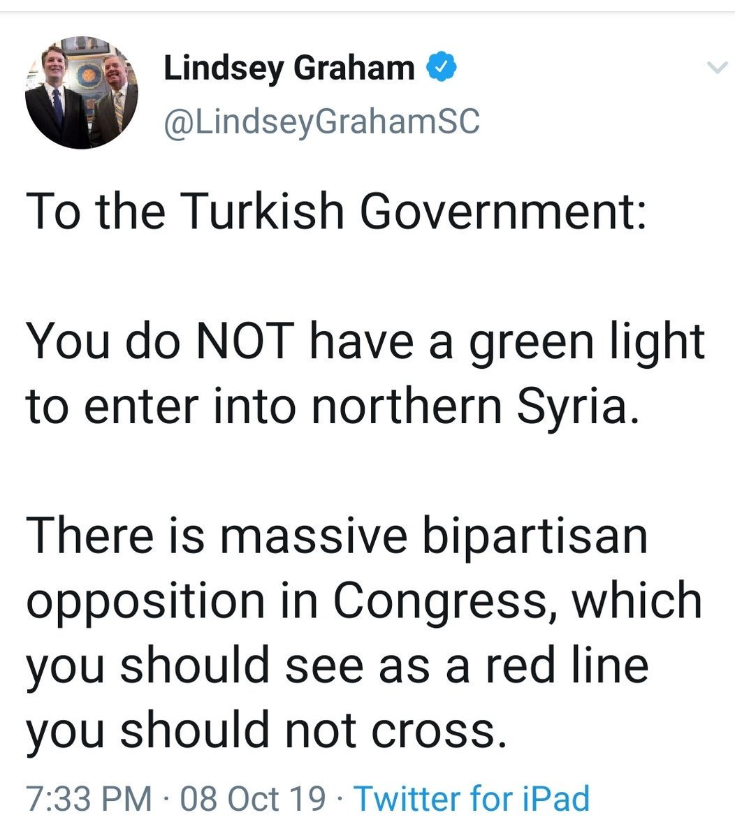 @harrisonjaime And, into Syria Turkey goes! I am sure they weighed Lindseys stern words heavily.🙄 Just a little meaningless GOP bluster! But, then the next moment Lindsey is back kissing Trumps feet! 😘🦶 Counting the days until we can vote you out Lindsey! Please support @harrisonjaime!