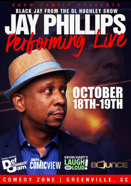 Friend of the Fest @JayPhillipsLive will be rolling through the Comedy Zone in Greenville, SC on October 18 & 19. You've seen Jay on the @RealDLHughley show, now catch him live in #Greenville. Tickets: https://www.greenvillecomedyzone.com pic.twitter.com/EvZs6zsQ4L