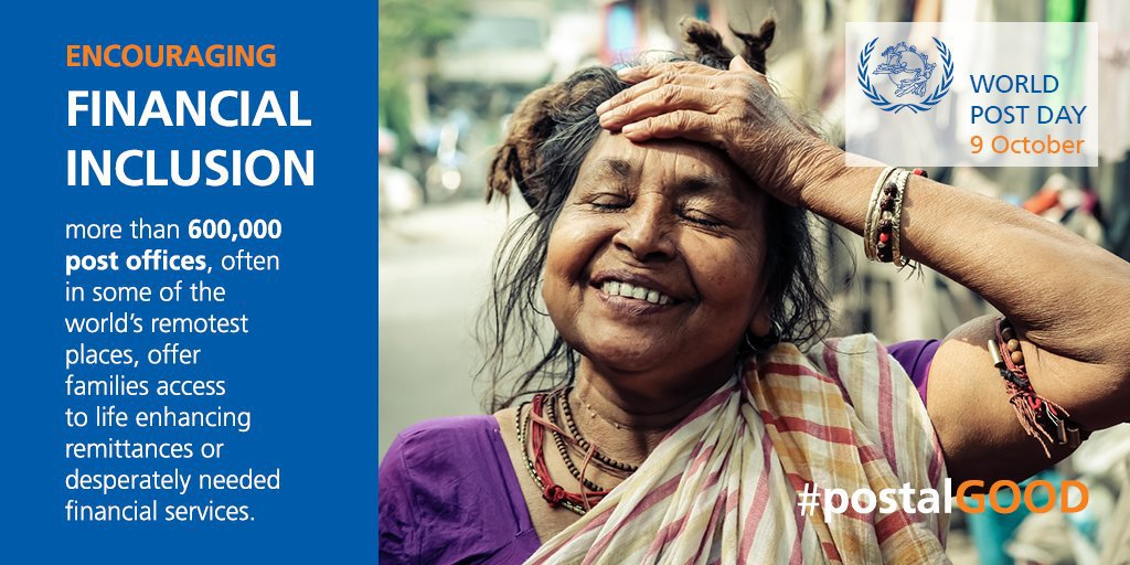 The world's 600,000 post offices are an extensive network that connect people & help to advance financial inclusion, an important spur towards ending poverty & encouraging economic growth. -- @antonioguterres on Wednesdays #WorldPostDay: bit.ly/2AQoWTA