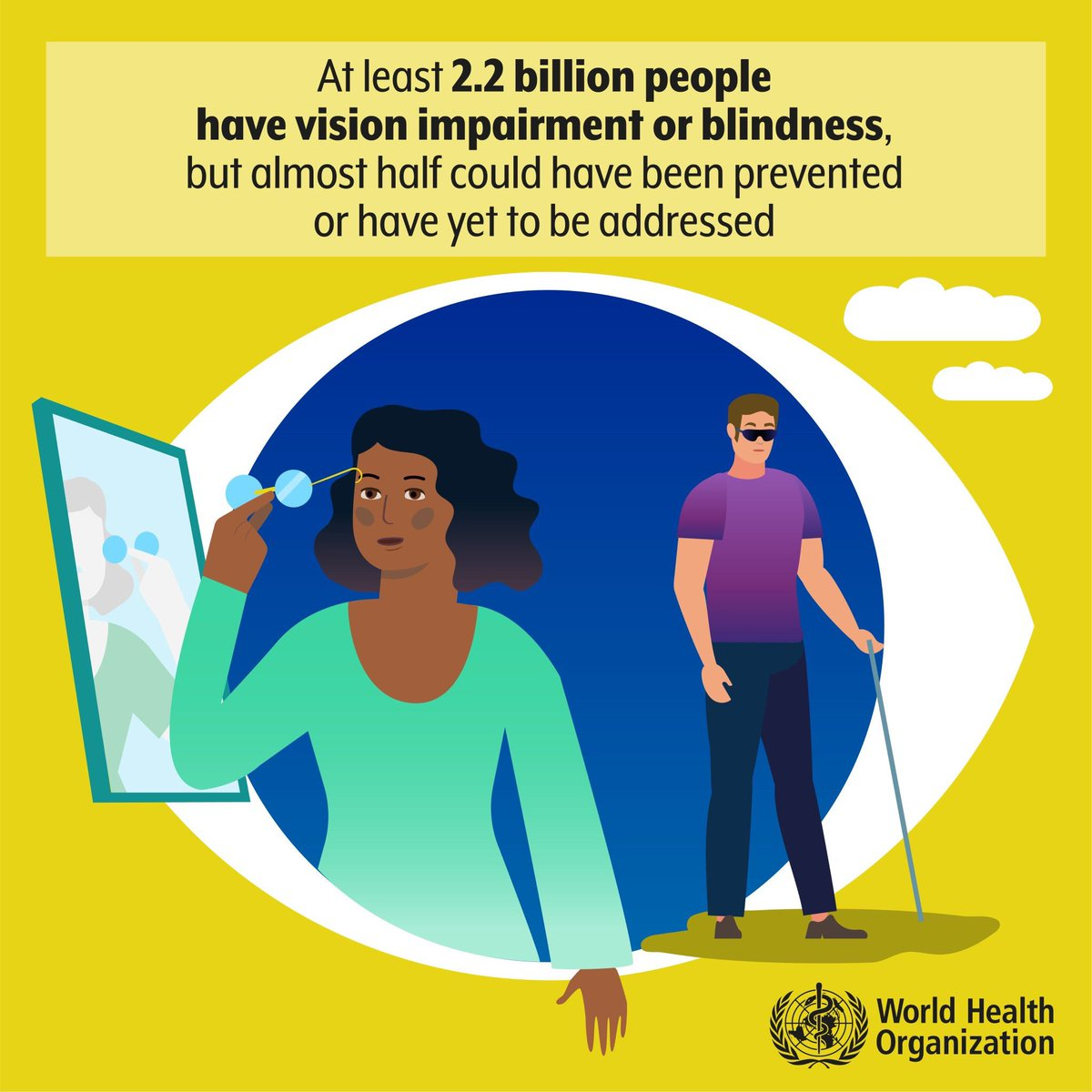 More than 1 billion 👤 worldwide are living with vision impairment because they do not get the care they need for eye conditions. Modifiable risk factors include smoking, nutrition, occupational & recreational activities. 📖 @WHO World Report on Vision: bit.ly/2ofvys3