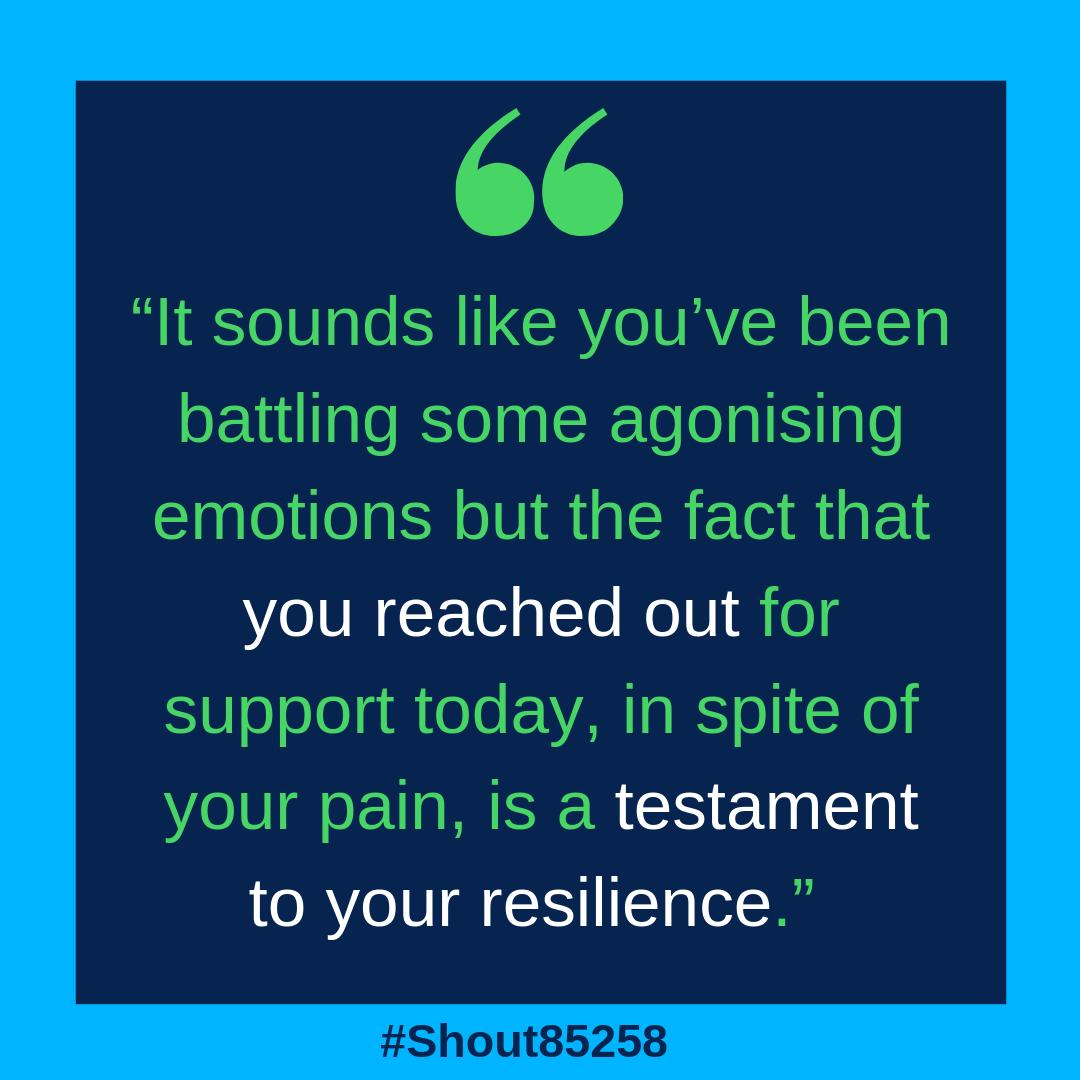 Finding the strength to reach out can be one of the hardest things you can do but it can also be one of the bravest. If you want to speak to someone over text our #CrisisVolunteers are here for you 24/7. Text SHOUT to 85258. #Shout85258 #WorldMentalHealthWeek