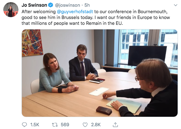 Weve heard a lot from @joswinson and co about inflammatory language. On the same afternoon that she enjoyed a matey meeting with @guyverhofstadt, he denounced Leavers and the UK PM as traitors in the EU Parliament then boasted on Twitter about doing it. Not a peep from Jo.