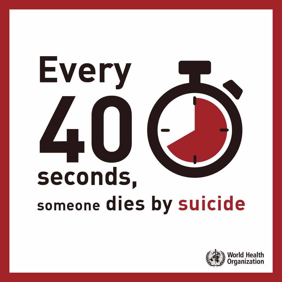 Every 40 seconds, someone, somewhere in the world, dies by suicide. On Thursdays World #MentalHealth Day, @WHO is calling for 40 seconds of action to prevent suicide. bit.ly/2VpX6qy