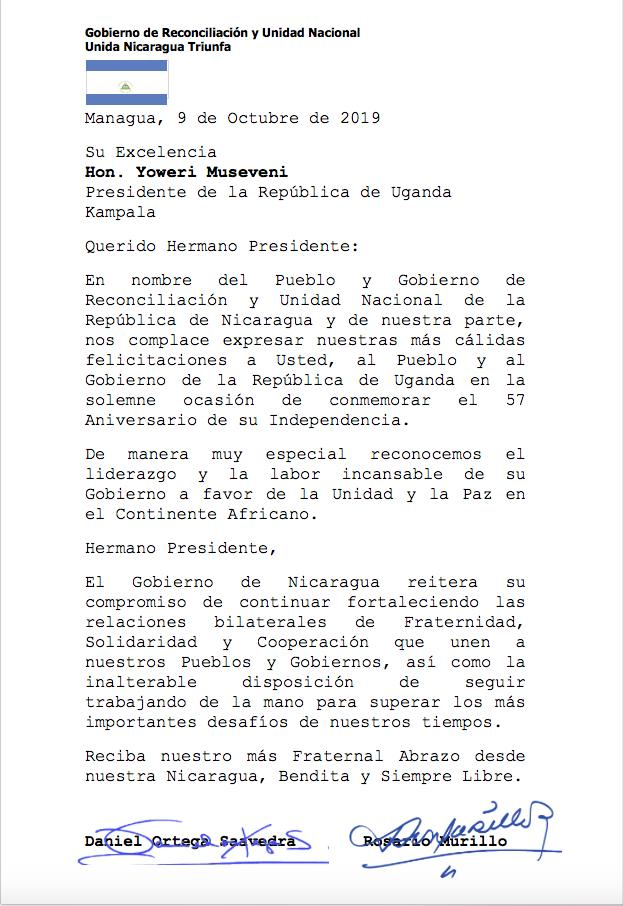 Nicaragua saluda el 57 aniversario de la independencia de la República de Uganda