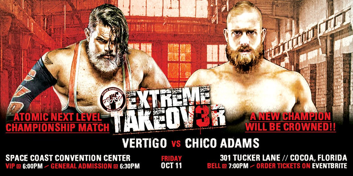 """Friday October 11th in Cocoa Florida for @WrestlingAtomic """"Extreme Takeover 3"""" we will crown a NEW Atomic Next Level Champion. The match will be @VertigoCure13 vs @TheChicoAdams  #NewFaceOfEXTREME #Atomic #ProWrestling #vertigo #cure #YoSoyCompetencia #silverfox #fallowforfallow pic.twitter.com/UgaYYmVqD4"""