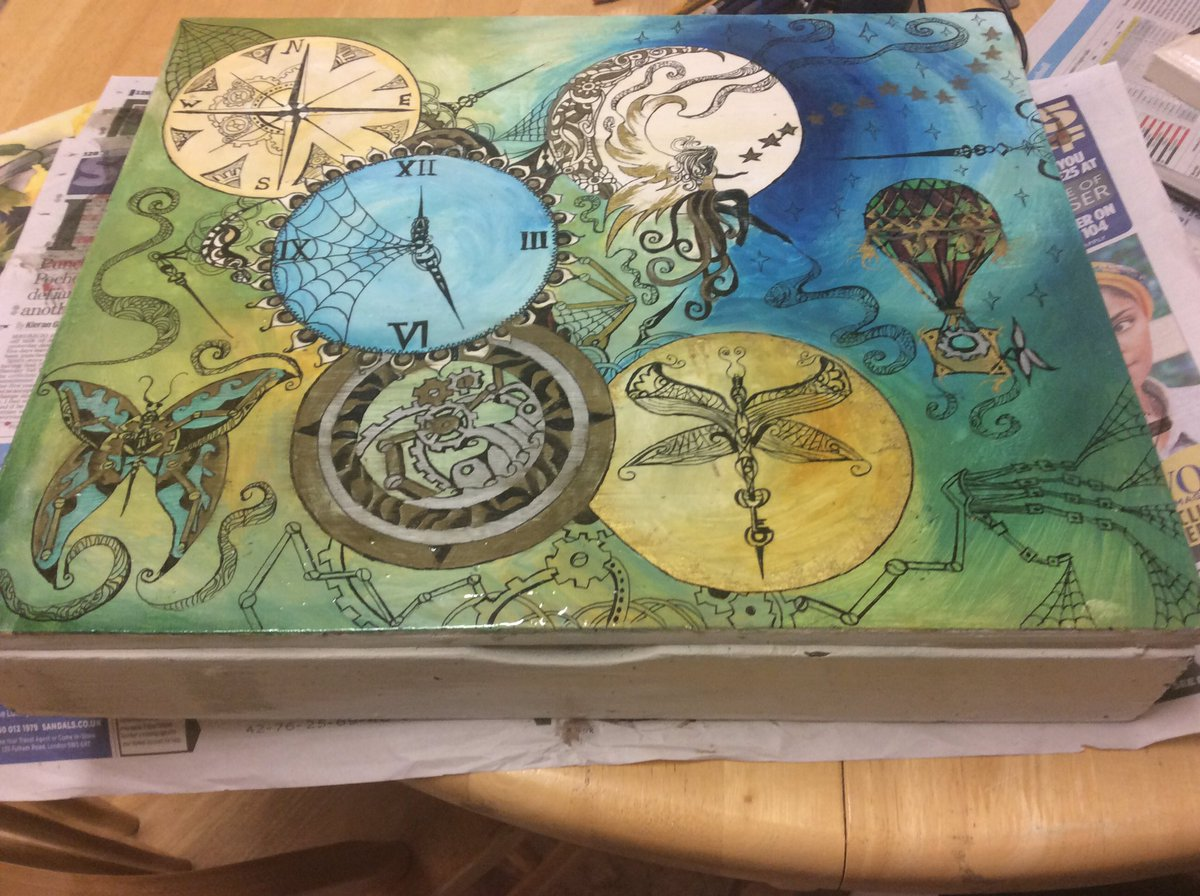 #steampunk hand painted box varnished