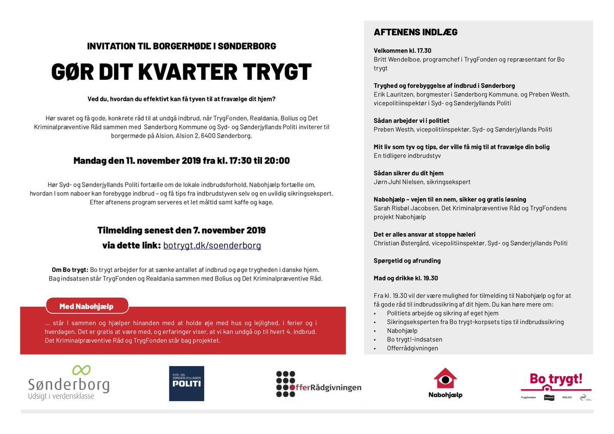 Invitation til Borgermøde, den  11. november  i Alsion i Sønderborg. Kom og hør, hvordan du gør dit kvarter mere trygt, og hvordan du får indbrudstyven til at fravælge dit hjem! Tilmelding på https://t.co/3JLLEttfRN #politidk https://t.co/QyzcPgvuXb