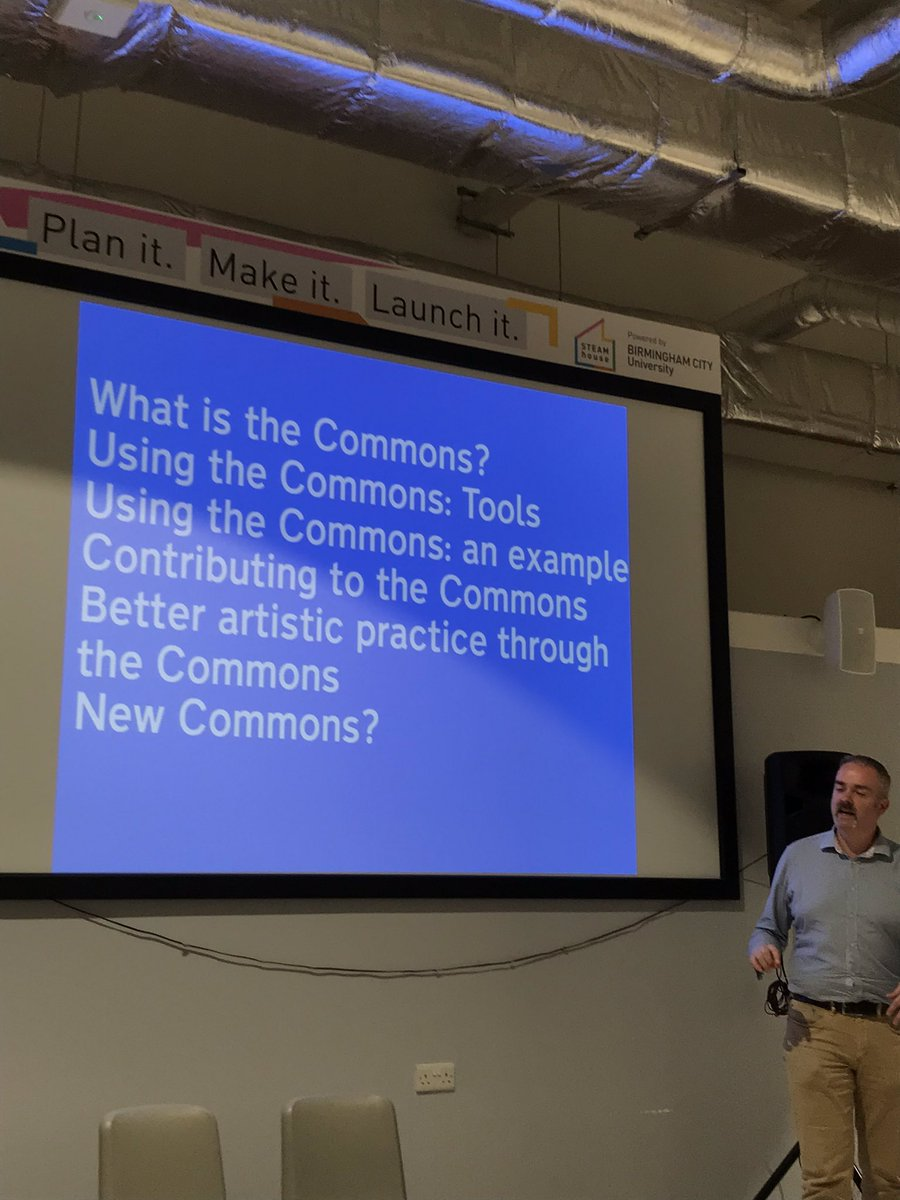 Interesting talk regarding Commons thinking & actions from a makerspace perspective by @amcewen at @STEAMhouseUK