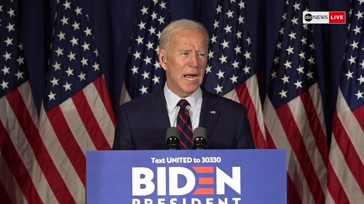 """Joe Biden on Pres. Trump: """"We all laughed when he said he could stand in the middle of Fifth Avenue and shoot someone and get away with it. It's no joke! He's shooting holes in the Constitution and we cannot let him get away with it."""" http://abcn.ws/2OIkMFB"""