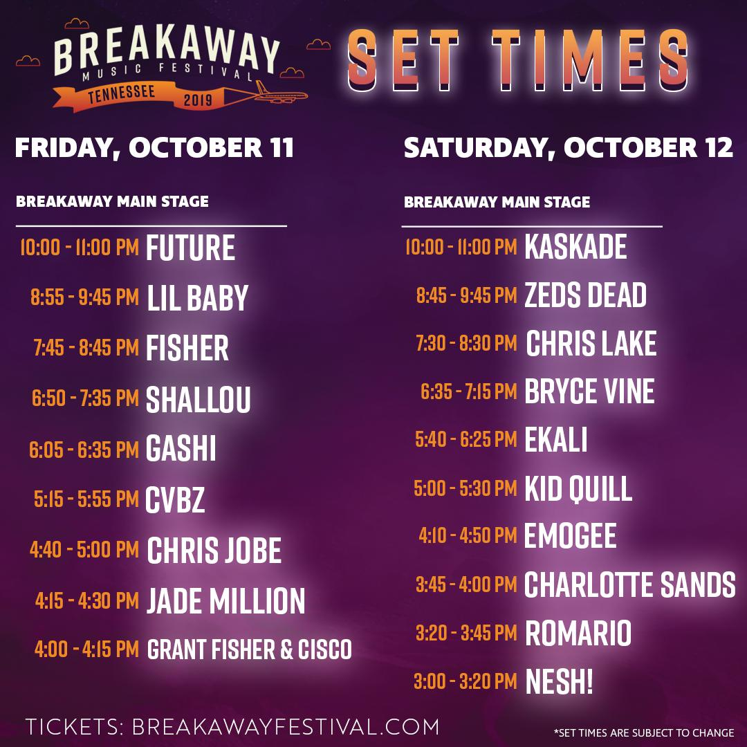 Breakaway Music Festival schedule