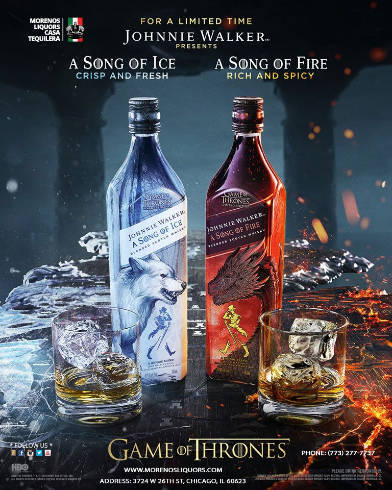 Introducing two new limited edition whisky blends honoring the legacy of Game of Thrones.  Johnnie Walker A Song of Ice, and Johnnie Walker A Song of Fire.  #JWSongofIce #JWSongofFire #chicago #littlevillge #lavillita #thewindycity #Whisky #GameofThrones @JohnnieWalkerUS<br>http://pic.twitter.com/YRlWO0vnqg