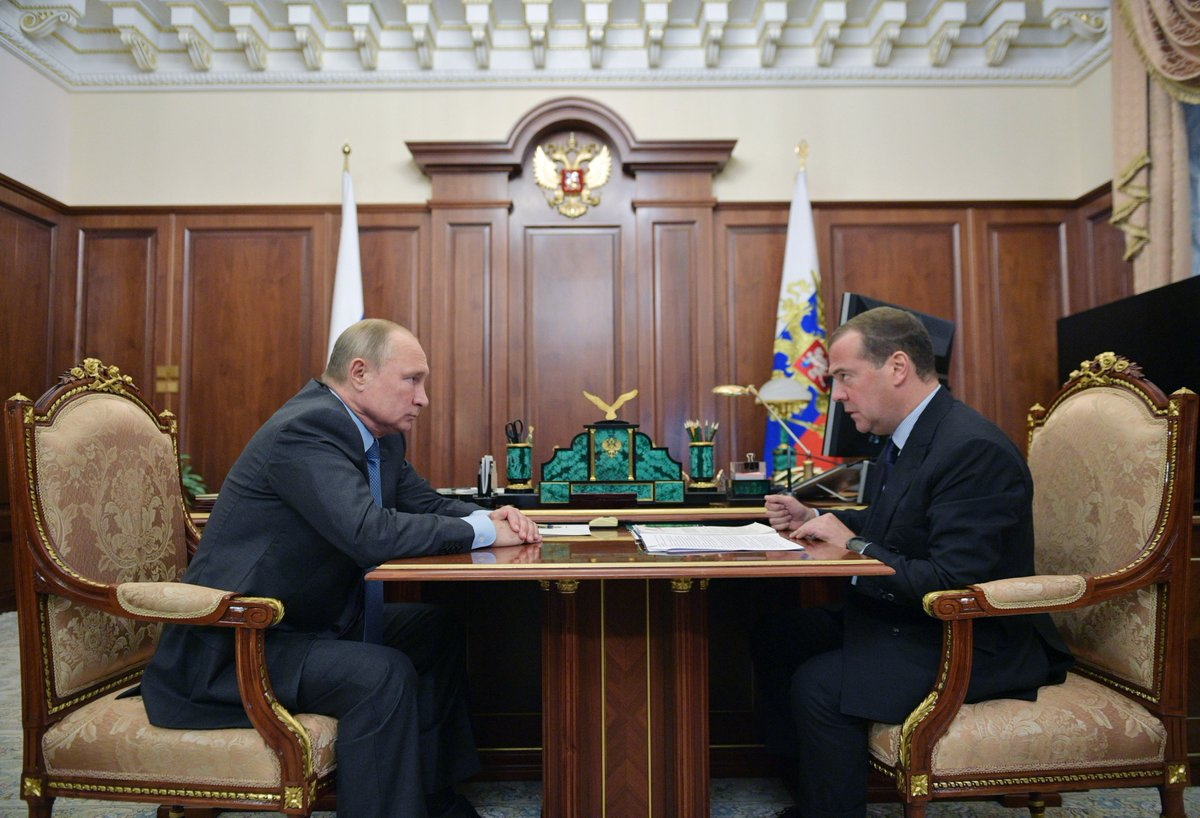 Working meeting with Prime Minister Dmitry Medvedev @MedvedevRussiaE bit.ly/2Mt5L7v