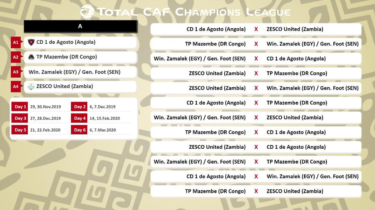 🗓️ #TotalCAFCL Group Stage - Fixtures 🗓️ Sync these times and dates with your calendar. Dont miss a single match! 🔝 Share your predictions with us 📝