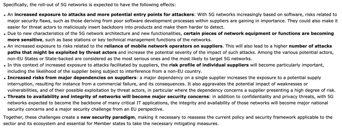 EU cybersecurity authorities sound alarm on foreign interference in #5G networks. Such espionage attempts may be facilitated by... lack of democratic checks & balances; lack of security or data protection agreements between the EU & the 3rd country. politico.eu/article/eu-tel…